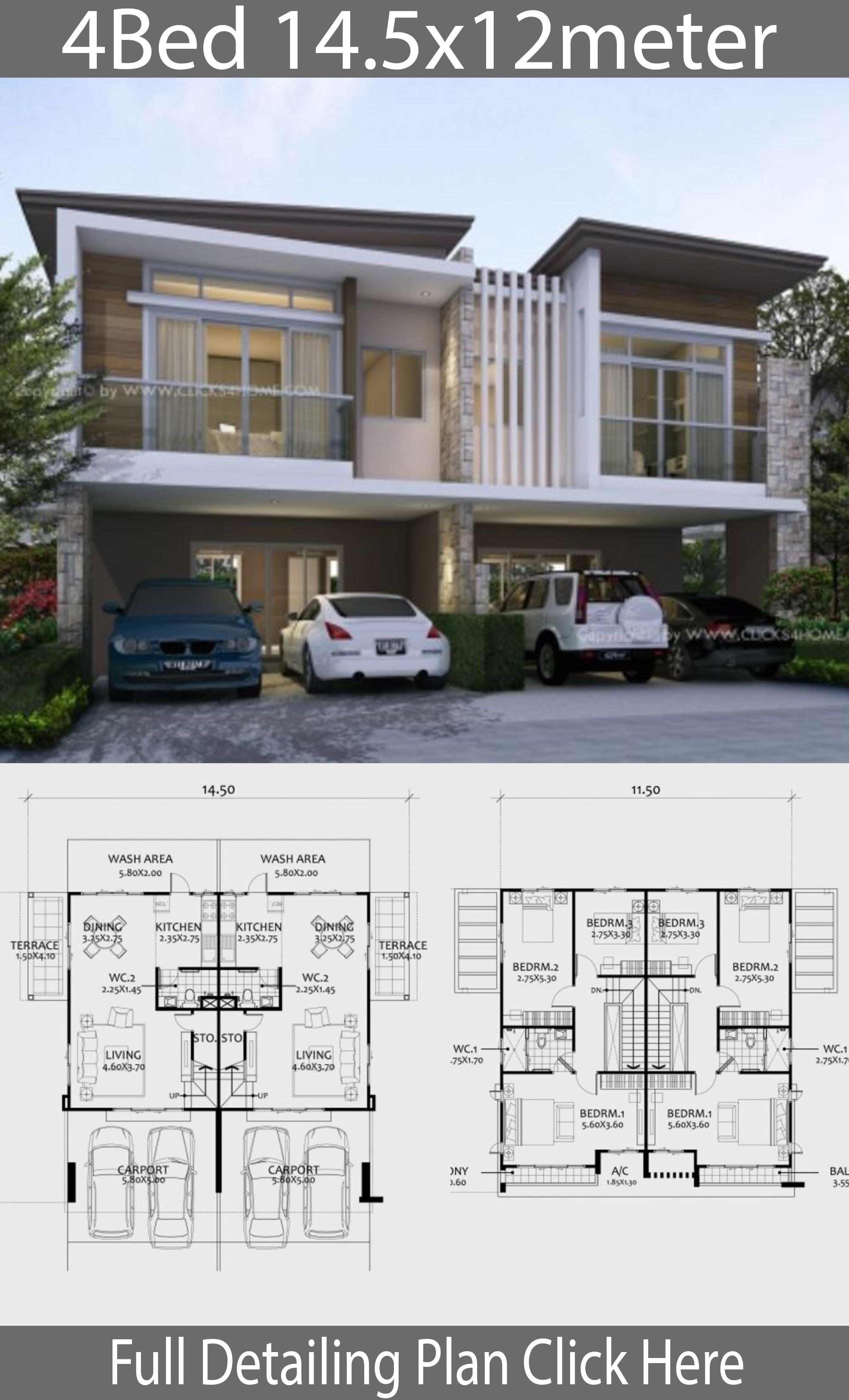 Twin House Design Plan 14 5x12m With 6 Bedrooms House Idea House Layout Plans Model House Plan House Architecture Design