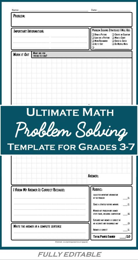 Math Problem Solving Worksheets A Structured Strategy For Solving