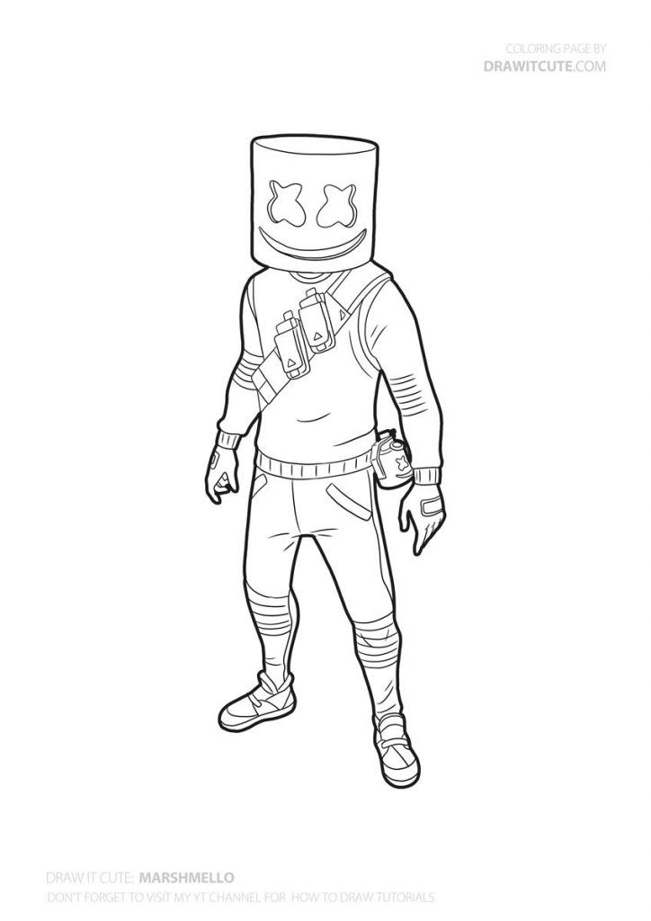 How To Draw Marshmello Easy Fortnite Season 7 Drawing Tutorial Draw It Cute Drawings Easy Drawings Colorful Drawings