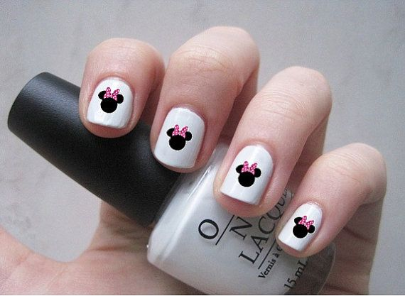 25 Minnie Mouse Disney Inspired Nail Decals Free Shipping On Etsy 4 00 With Images Doctor Who Nails Nails Disney Inspired Nails