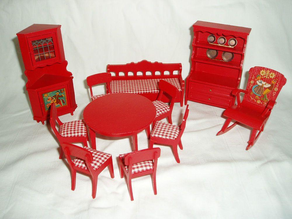 Puppenstube Bauernstube Esszimmer Rot Sammlerstück Ca. 1970 | EBay