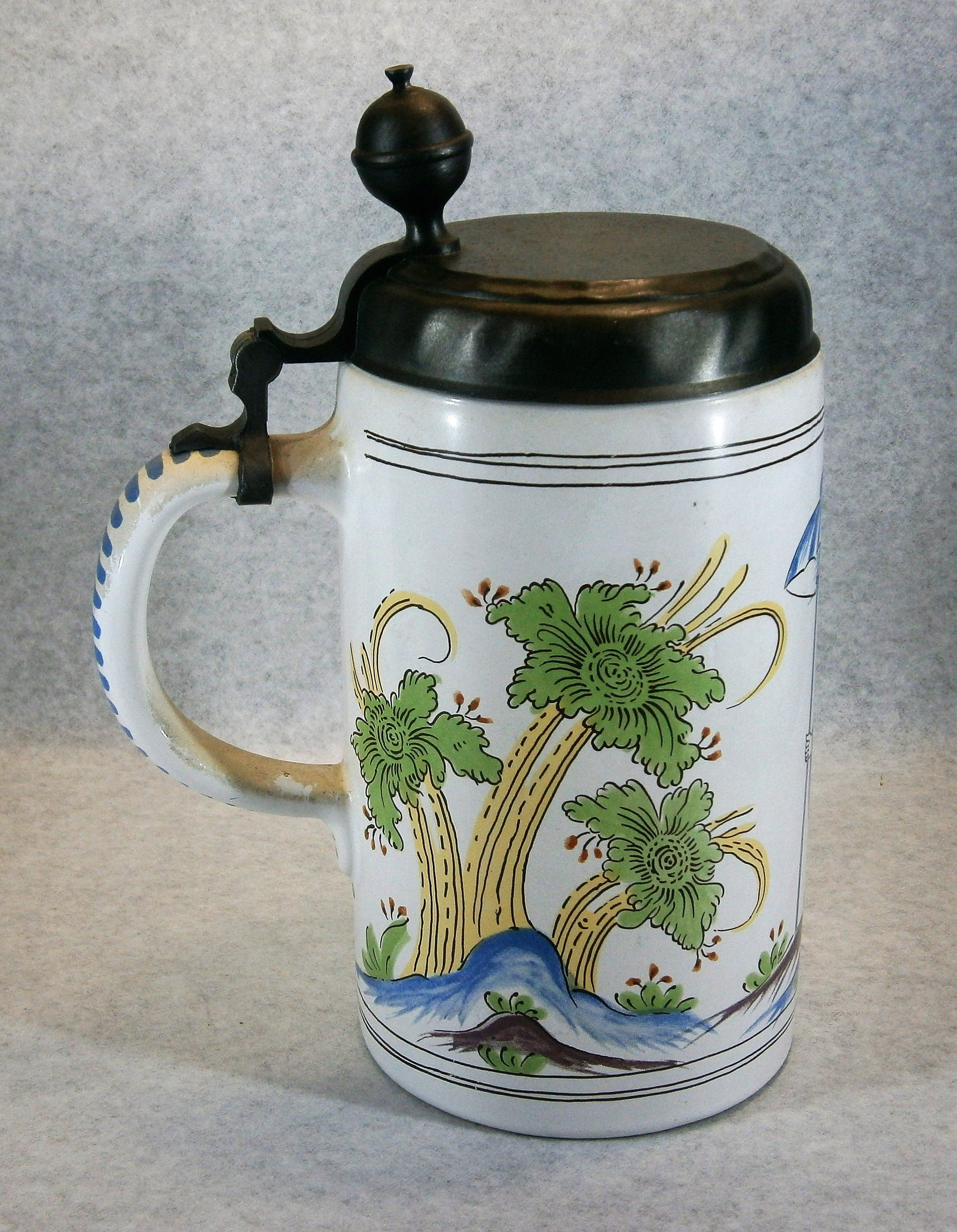 Excited To Share The Latest Addition To My Etsy Shop W282 Fayence Konig Pilsener Year Jug 1992 Multi Color Beer Stein Mug Tankard With Pewter Lid Https Etsy
