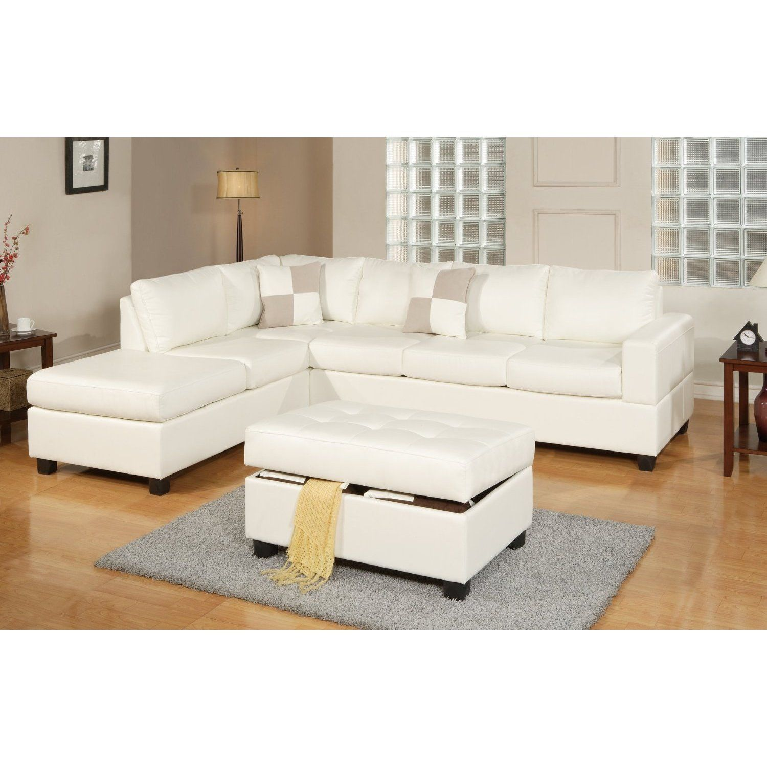 3 Piece Modern White Bonded Leather Reversible Sectional Sofa With Large Ottoman White Brown White Sectional Sofa Sectional Sofa White Leather Sofas