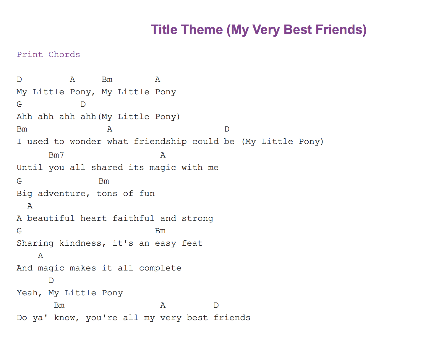 My little pony theme music pinterest guitar chords sheet come here for lyrics sheet music and guitar chords and tabs for all the mlpfim songs hexwebz Images