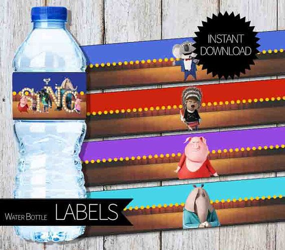 sing birthday party printable water bottle by apartyprintable birthday party ides pinterest. Black Bedroom Furniture Sets. Home Design Ideas