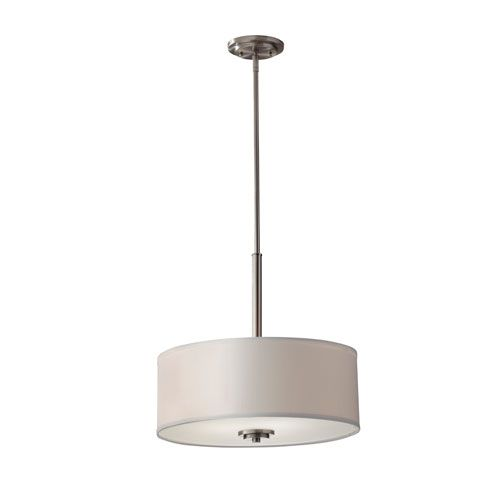 $159 Kincaid Brushed Steel Three Light Pendant Home Solutions Drum Pendant Lighting Ceiling Lig