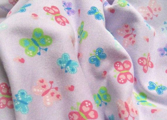Butterfly Fabric Purple Fabric Jersey Cotton Half Yard