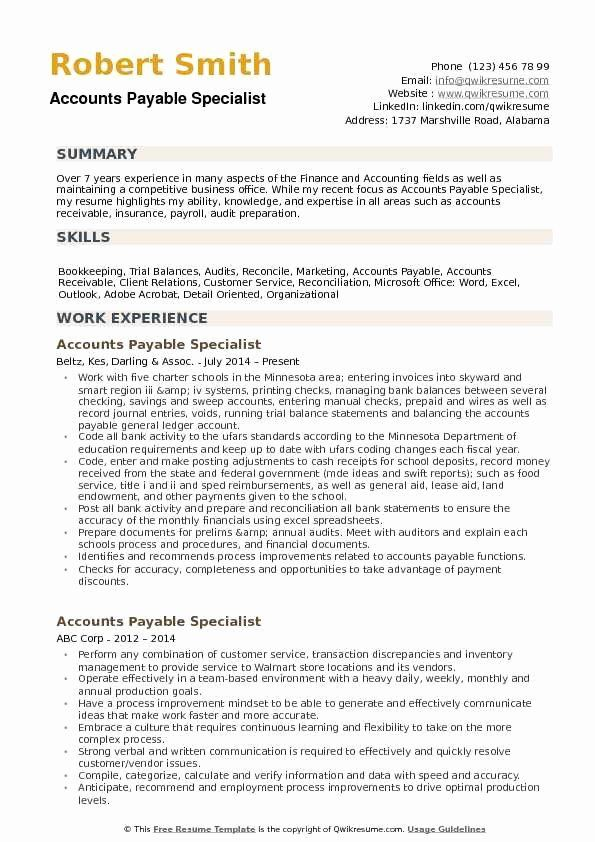 Accounts Payable Job Description Resume Unique Accounts Payable Specialist Resume Samp In 2020 Nurse Job Description Counselor Job Description Job Description Template