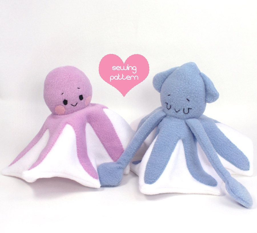 PDF sewing pattern bundle - Squid & Octopus stuffed animals - easy ...