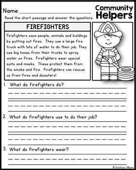 Community Helpers Reading Comprehension Passages | community ...