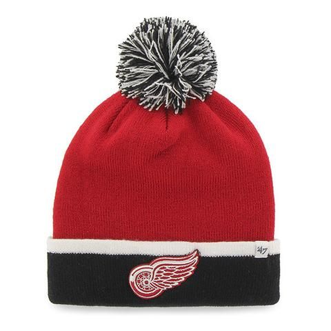 nhl 47 brand detroit red wings red breakaway cuff knit hat w pom