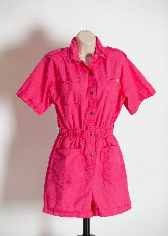 7e2896578f3c Vintage 80s 90s Women s Pink One Piece Shorts Jumpsuit Romper - DREAMS