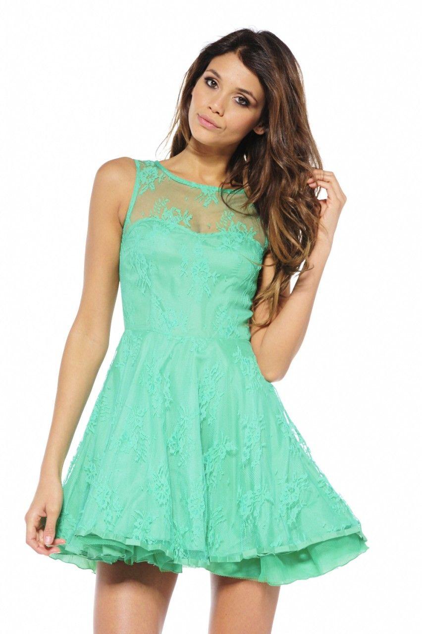 Green Lace Overlay Sleeveless Flare Skater Dress | <3 | Pinterest ...