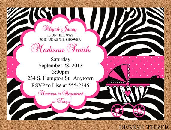 zebra print baby shower invitation, thank you card, diaper raffle, Baby shower invitation
