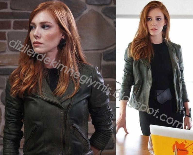 Kiralık Aşk - Defne (Elçin Sangu), Green Leather Jacket