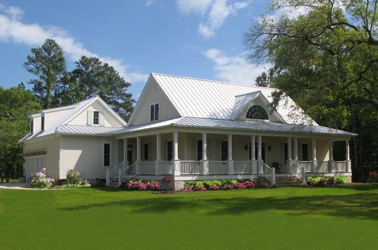 Beautiful White Country Home Designs Large Lawn Small Garden
