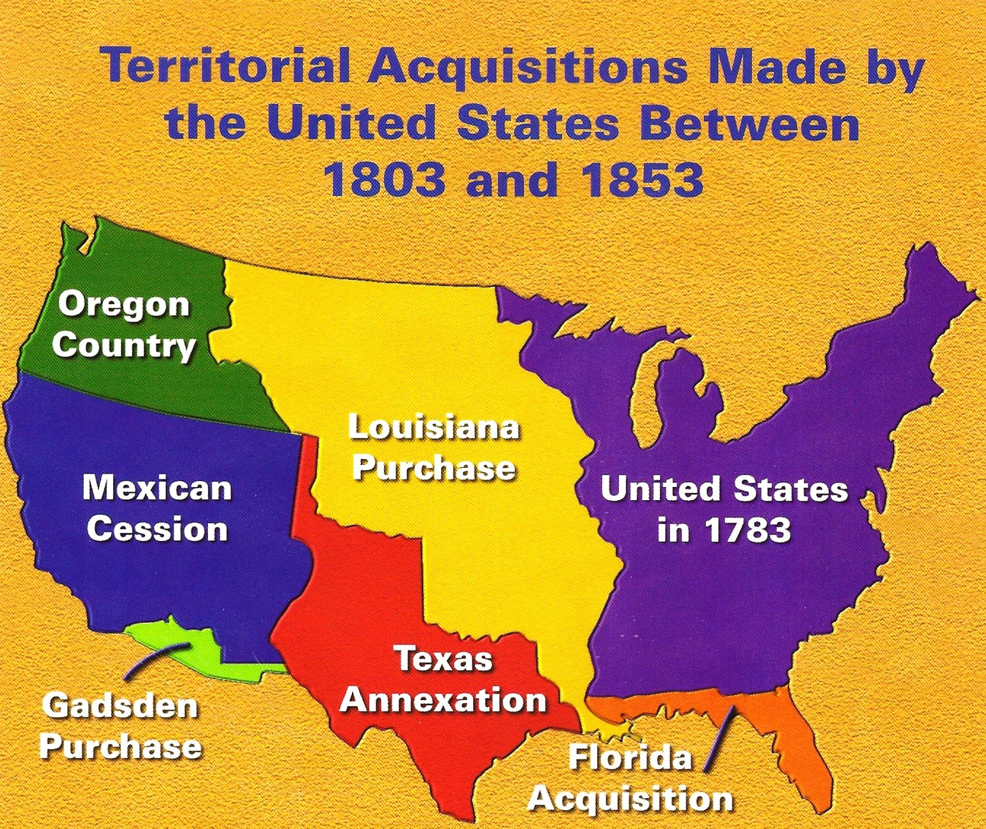 Map Of Us Territorial Acquisitions - Blank map of us territorial acquisitions