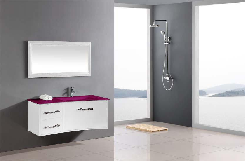 Meuble salle de bain design LC 100cm vasque verre laqué ...