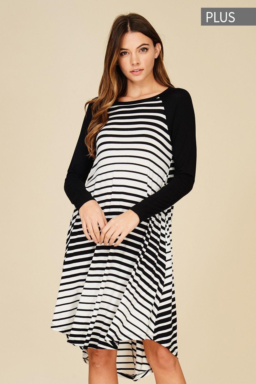 7ff941485618 Plus Size Contrast Stripe Midi Dress Style# D5351P Plus size knit dress  featuring contrast stripe, oversize, round neck, long sleeve midi, side  pockets, ...