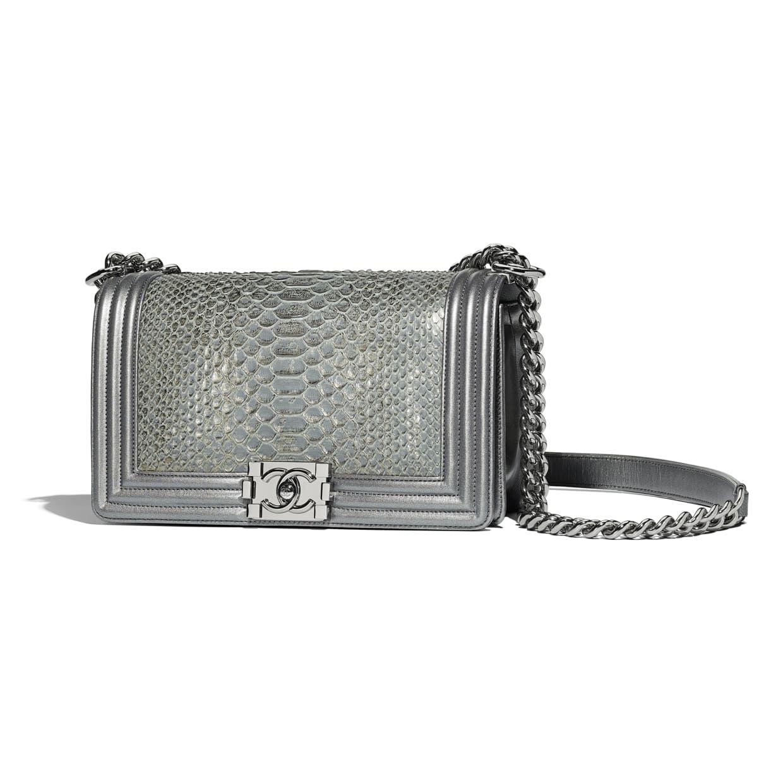 d4bf2dac056 Chanel - PRE FW2018/19 | Python, metallic lambskin & ruthenium-finish metal  silver boy Chanel handbag ($7,200)