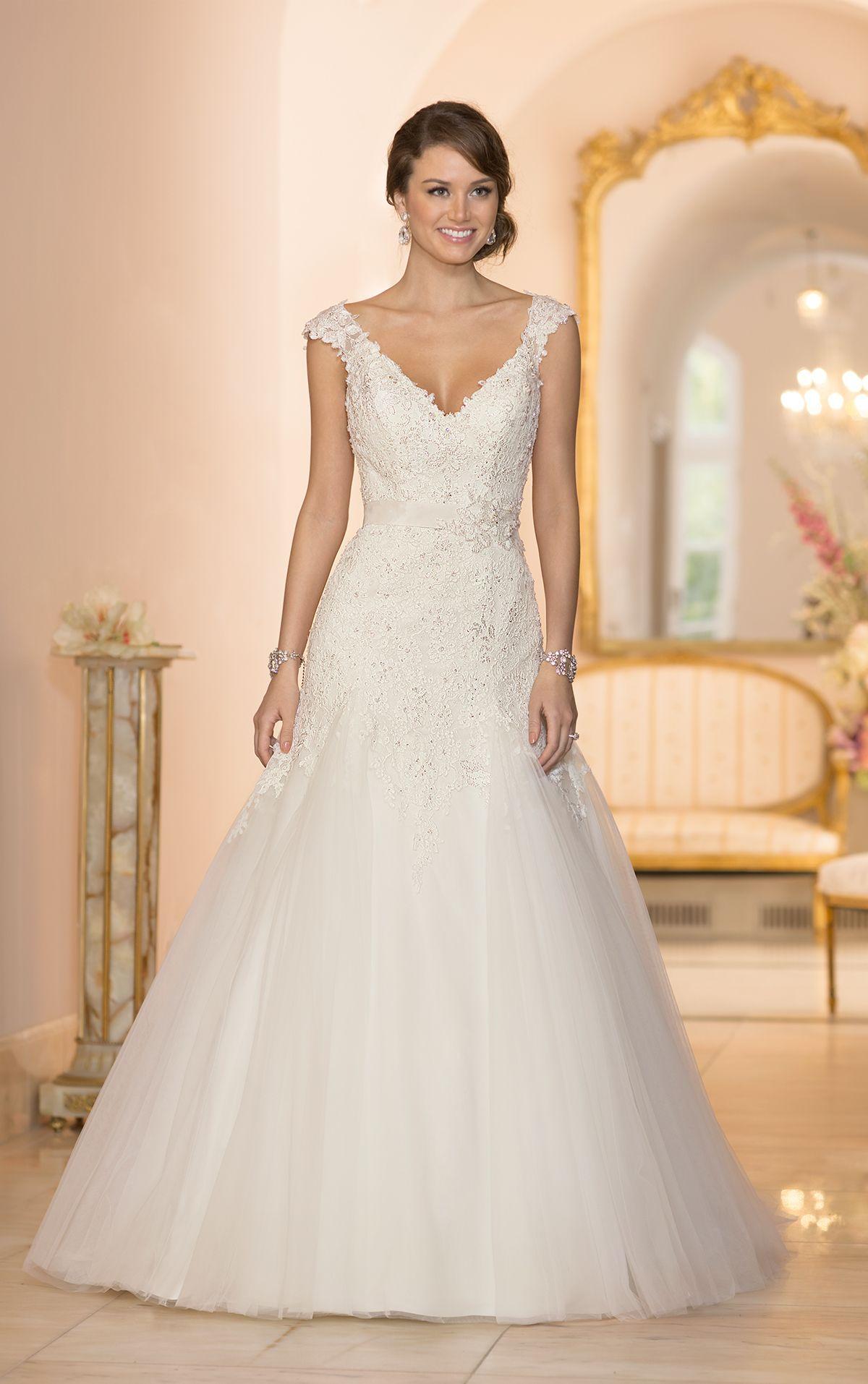 Lace cap sleeve a line wedding dress  Lace Cap Sleeve Wedding Dress by Stella York  Style