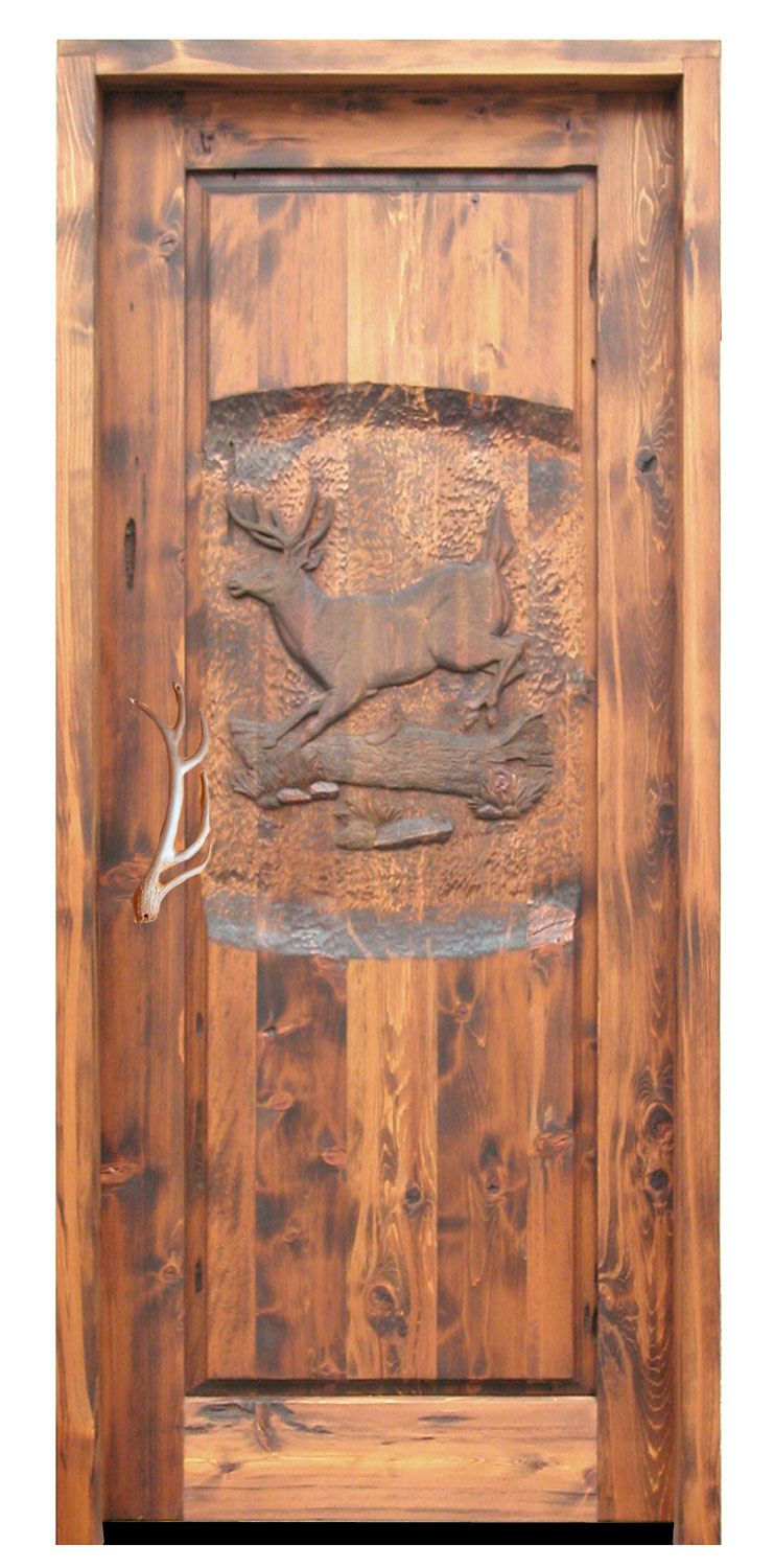 Hand Carved Deer Wooden Door Handmade By Master Craftsmen Hand
