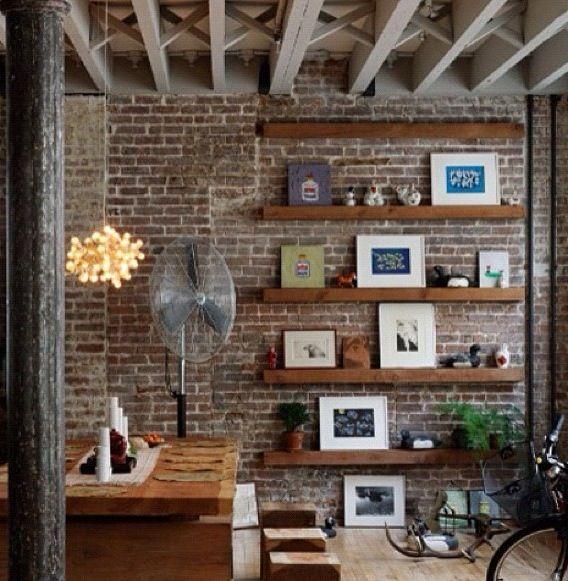 Floating Shelves On Feature Wall Brick Decor Loft Interior