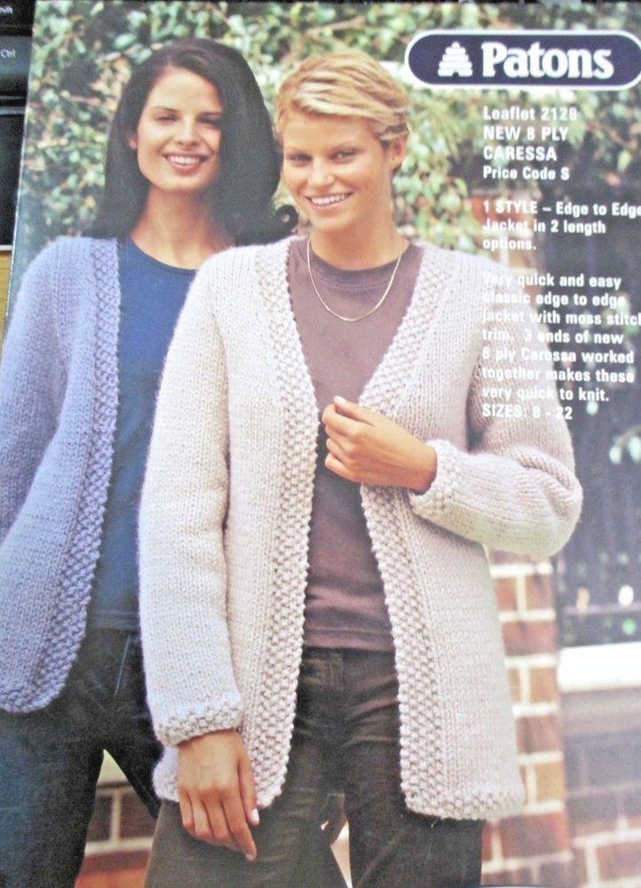 Patons knitting pattern leaflet ladies knits caressa no.2128 sizes 8 ...