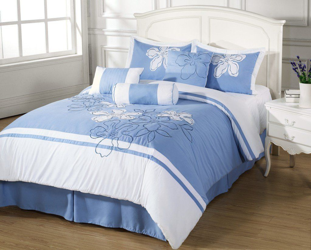 Cielo 7pc Queen Size Comforter Set Embroidered Floral Light Blue, White Bed  Cover By Cozy