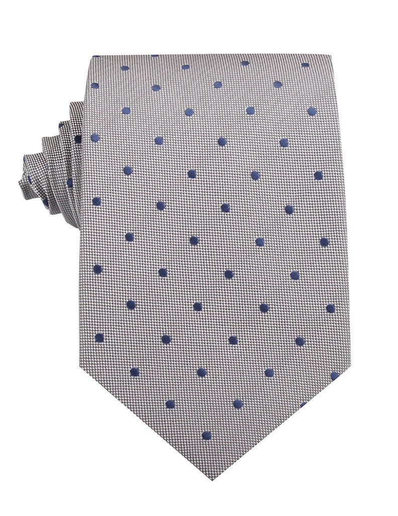 Grey with Oxford Navy Blue Polka Dots Necktie Blue polka