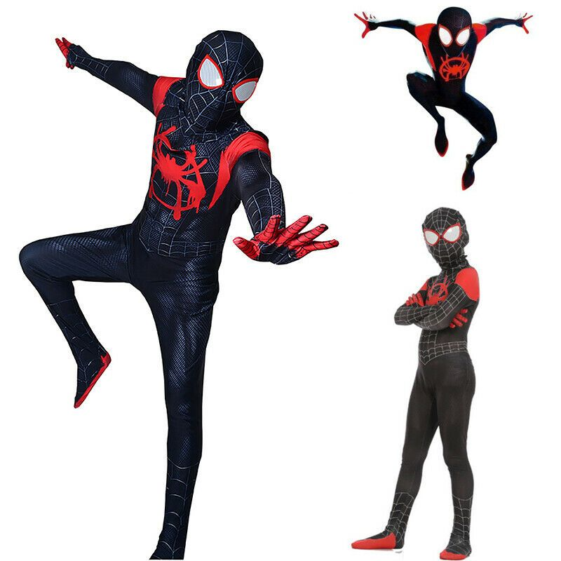 Spider Into the Spider-Verse Miles Morales Kids Cosplay Costume Zentai Suit hot