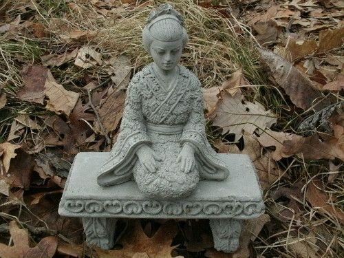 So Want Beautiful Small Cement Geisha Girl Bench Pair 640 x 480