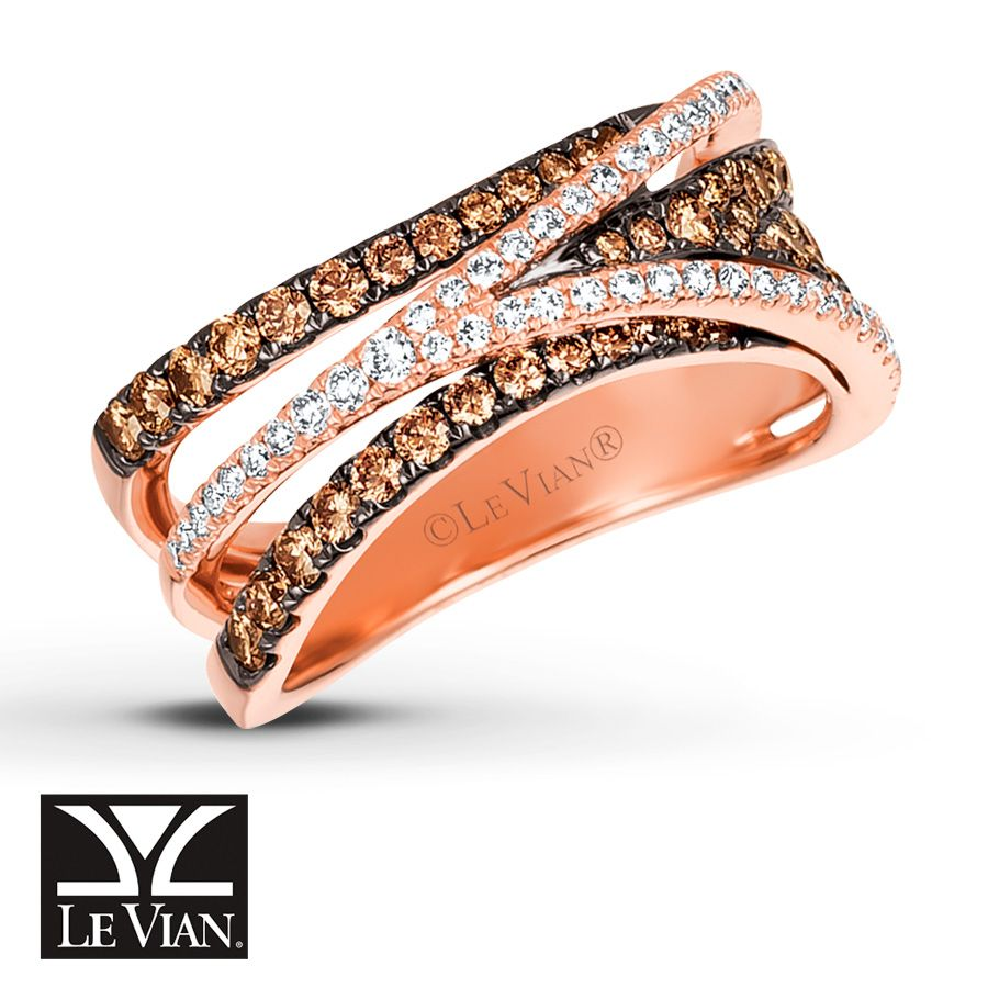 Overlapping rows of rich Chocolate Diamonds® and sparkling Vanilla Diamonds® form this openwork ring by Le Vian®. Fashioned in 14K Strawberry Gold®, the ring has a total diamond weight of 7/8 carat. Le Vian®. Discover the Legend. Diamond Total Carat Weight may range from .83 - .94 carats.
