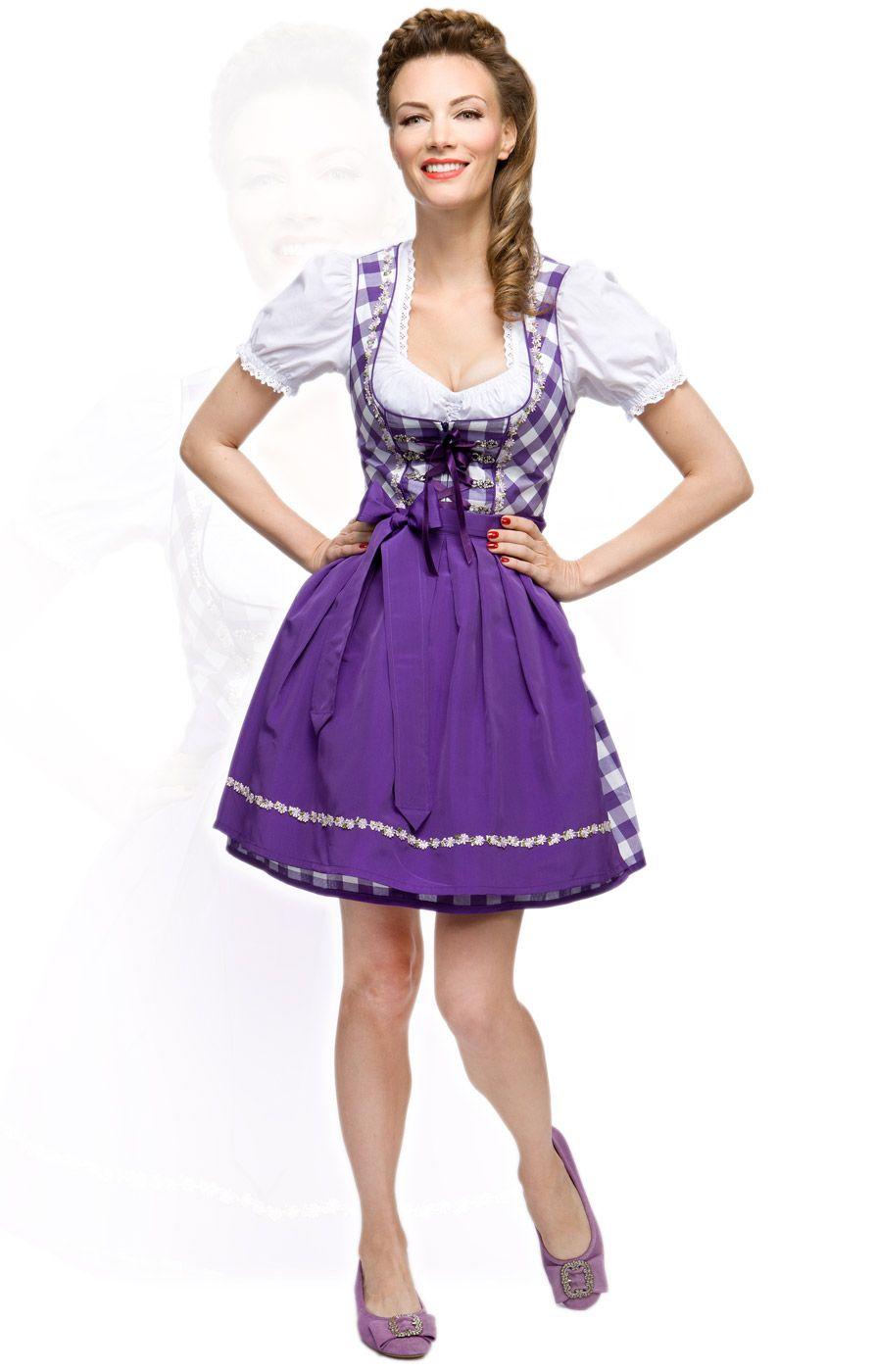 Stockerpoint Minidirndl 3tlg. Joy violett 50 cm Blockkaro