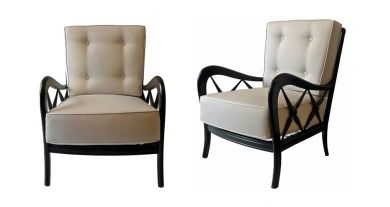 A pair of chairs with wooden frames (recently ebonised) and loose cushions   New foam cushions with removable covers in light grey cotton.   Italy, c.1940   H.85 x W.64 x D.68 cm