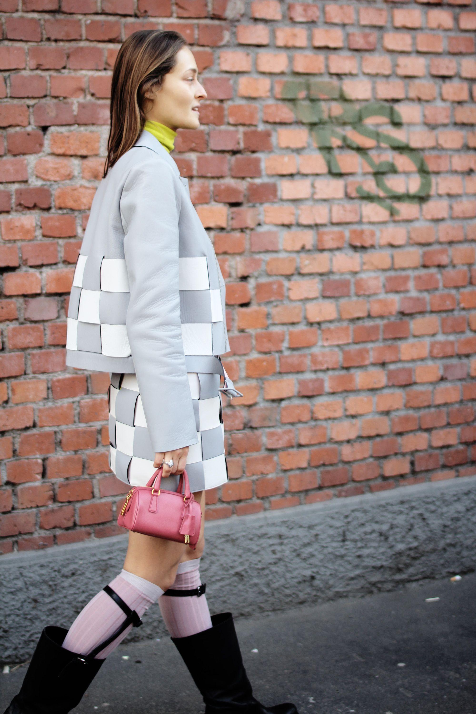 Daria Shapovalova wearing costume – Marco De Vincenzo bag, stockings ...