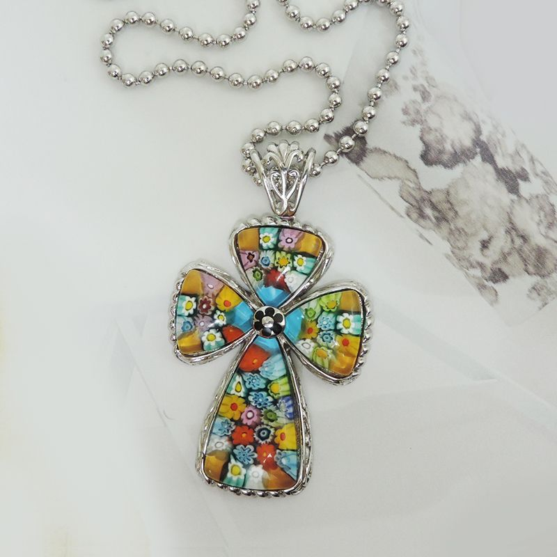 Sterling Silver Murano Glass Large Cross Pendant