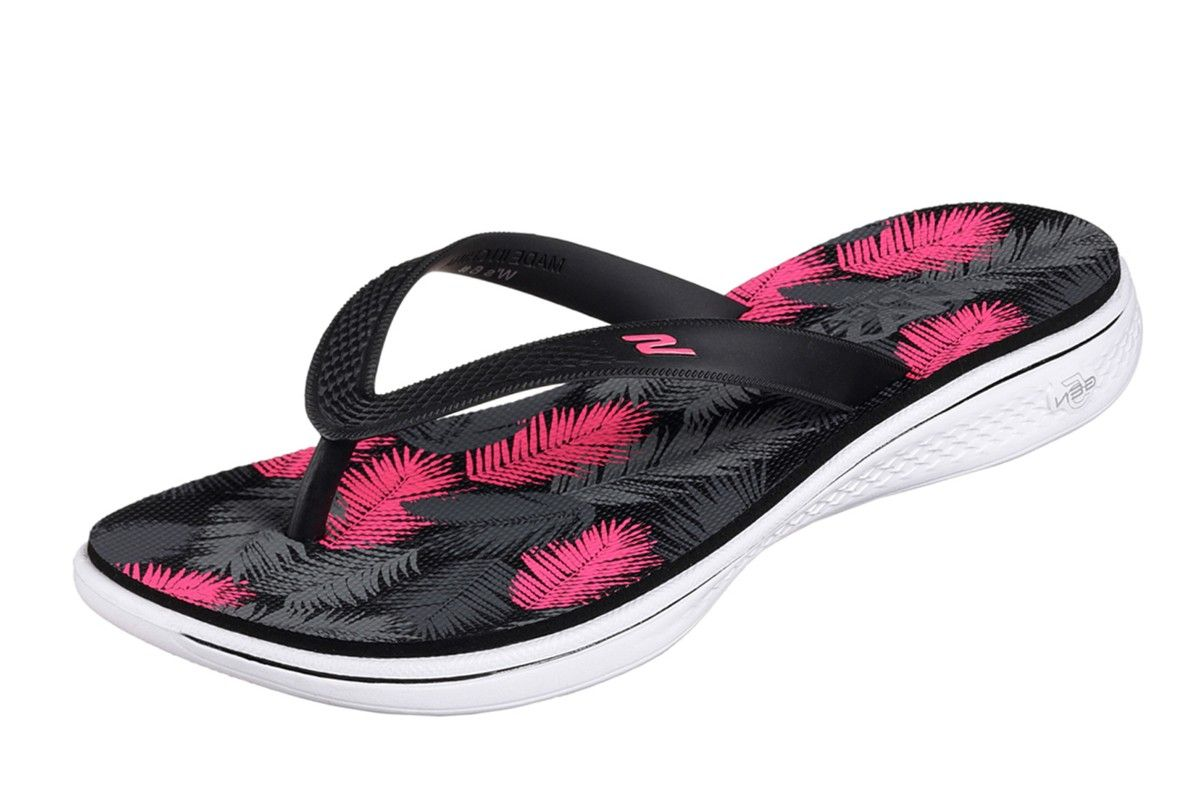 Skechers H2 Goga Lagoon Black Pink Women S Comfort Flip Flops