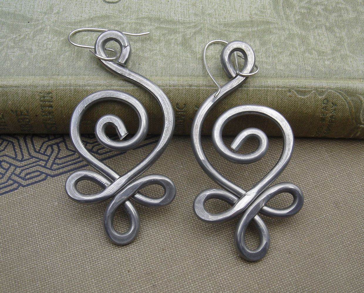 Big Celtic Budding Spiral Earrings Light Weight Aluminum Wire Sterling  Silver Ear Wires