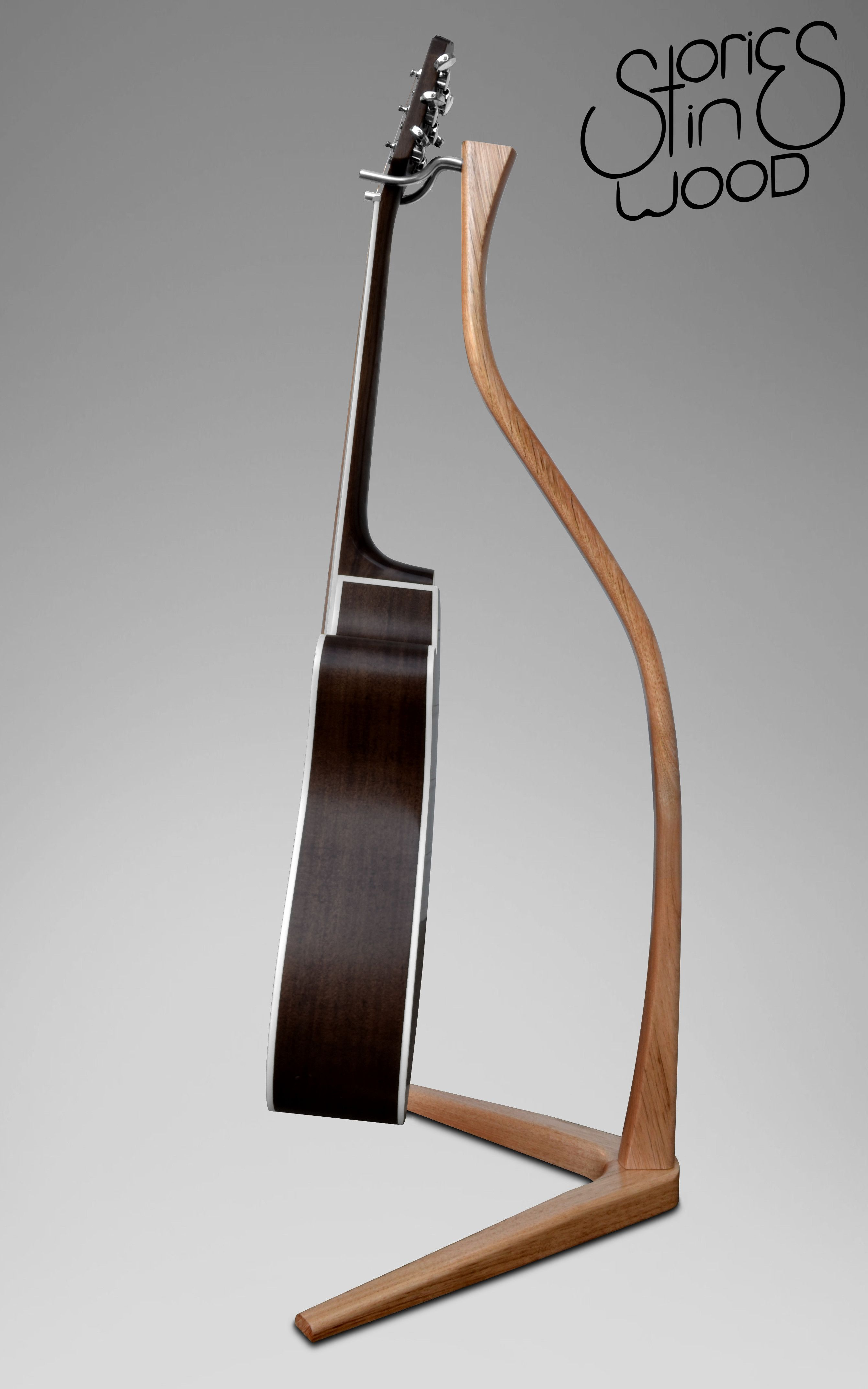 Victorian Ash Guitar Stand By Stories In Wood Wood Guitar Stand Wooden Music Stand Guitar Stand