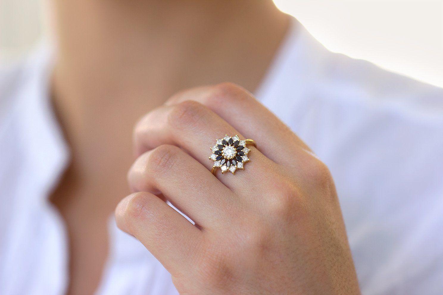 Black And White Diamond Engagement Ring Flower Diamond Cluster