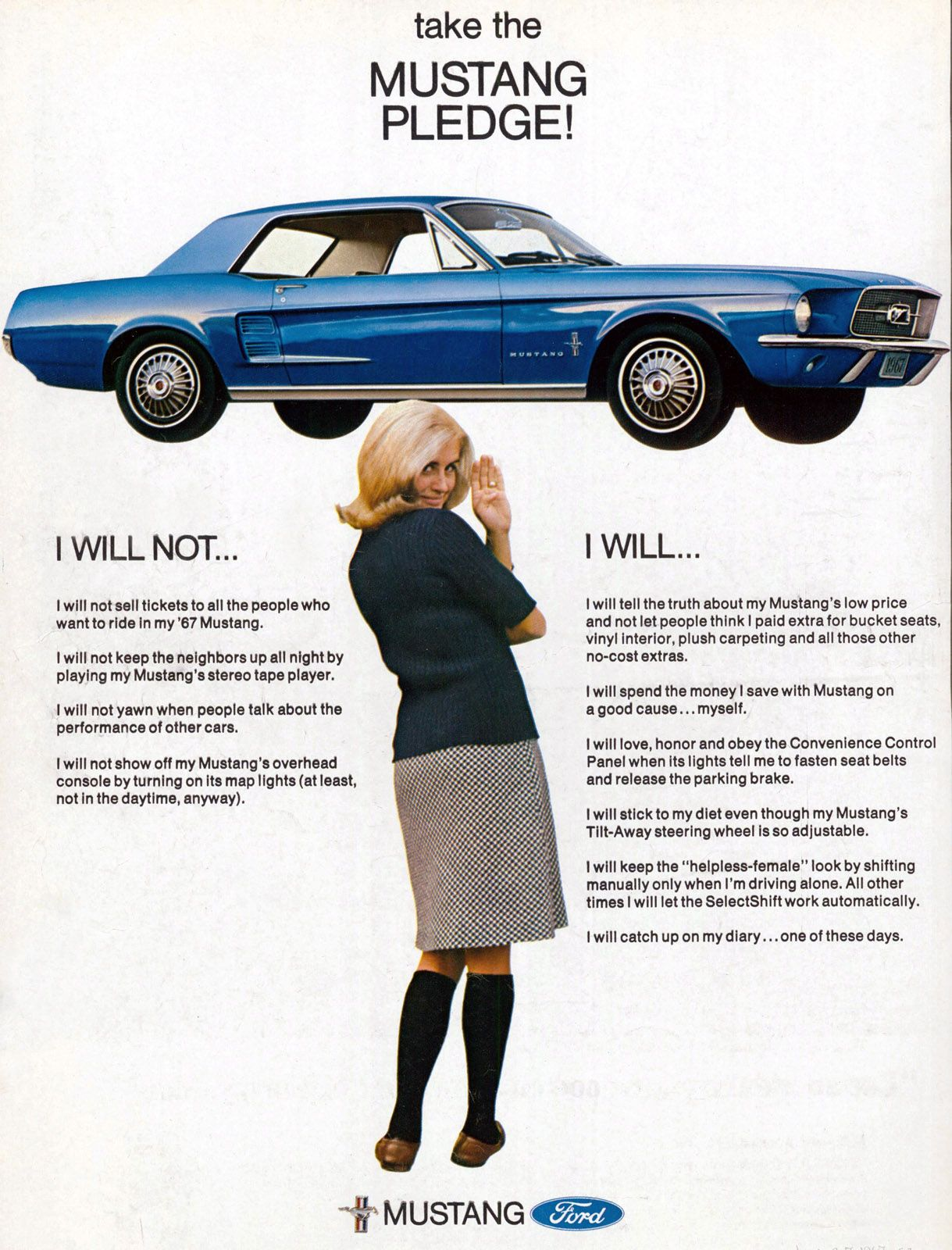 old mustang advertisement the mustang pledge throwbacks pinterest mustang ford mustang. Black Bedroom Furniture Sets. Home Design Ideas