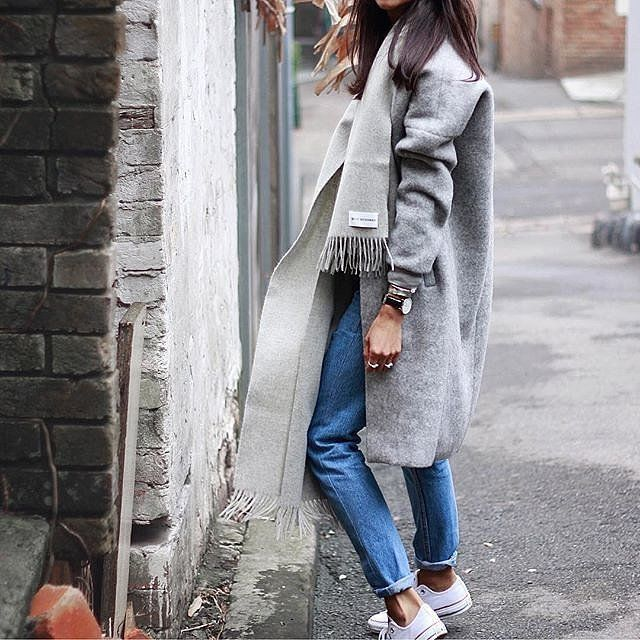 Laid-back layers: match your jacket to your scarf
