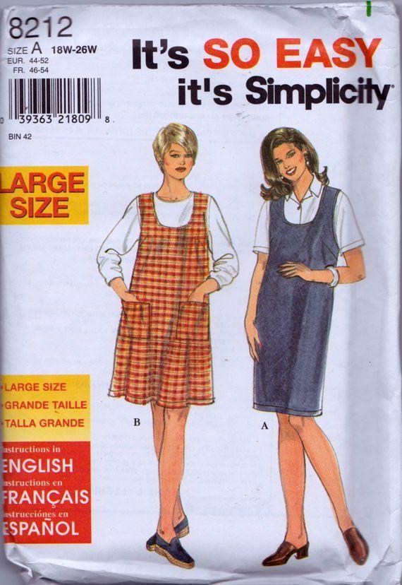 Simplicity 8212 Women\'s Jumper Pattern, UNCUT, Size 18W-20W-22W-24W ...
