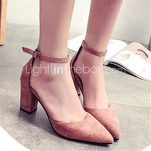 Shoes For Women Chunky Heel Pointed Toe Heels Dress Black Pink Gray