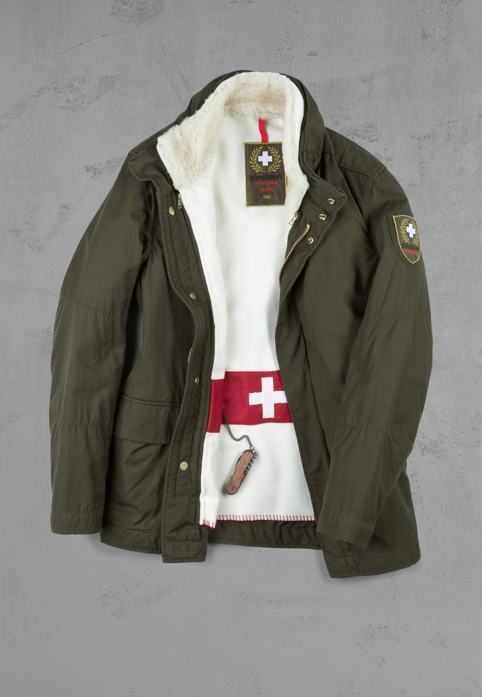 Strellson Jacke Swiss Cross Edition mit Lammfellkragen und