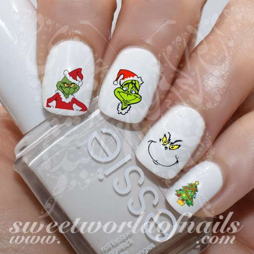 The Grinch Nail Art Nail Water Decals Transfers Art Nails Grinch