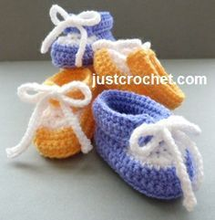Free baby crochet pattern for collared shoes http://www.justcrochet.com/collared-shoes-usa.html #justcrochet