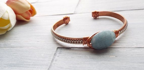 Thin Cuff Bracelet - Two Tone Cuff Bracelet - Southern Style Jewelry - Rustic Cuff - Copper Bracelet - Gift For Her - Beaded Cuff