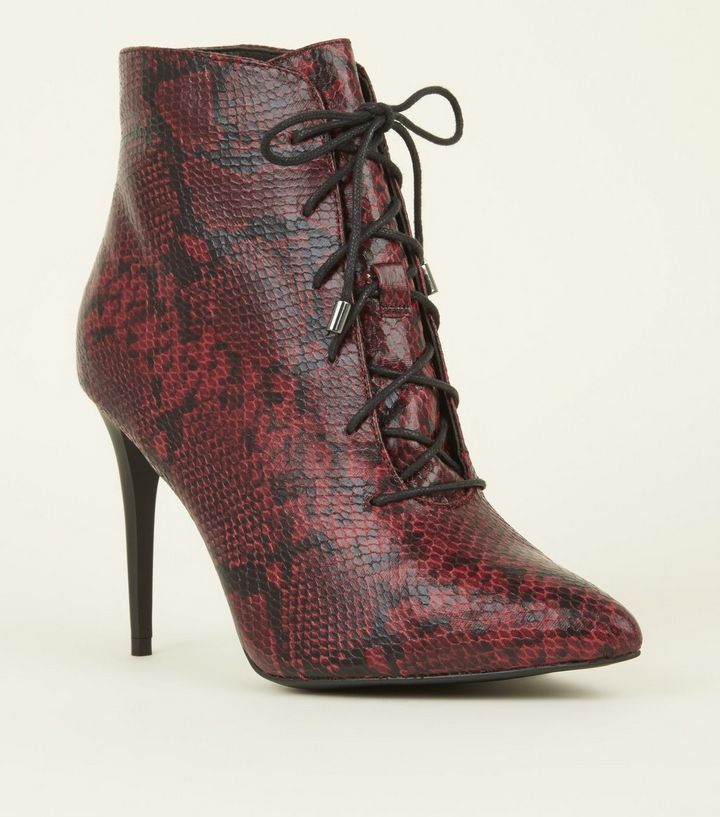 7be76376560e Red Faux Snakeskin Lace Up Pointed Shoe Boots